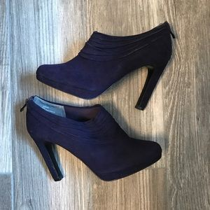 Coach Purple suede high heeled booties